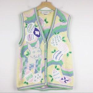 Vintage knit granny vest Easter pastel shades